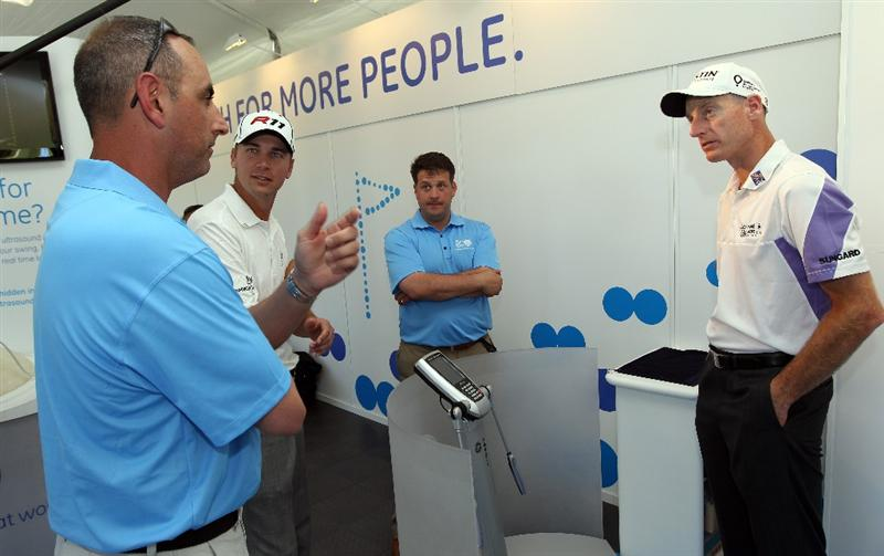 ORLANDO, FL - MARCH 23:  Sean O' Hair and Jim Furyk are given a tour of the GE Healthymagination Pavillion during the GE official annoucement as a marketing partner with the PGA TOUR at Bay Hill Club and Lodge on March 23, 2011 in Orlando, Florida.  (Photo by Sam Greenwood/Getty Images)