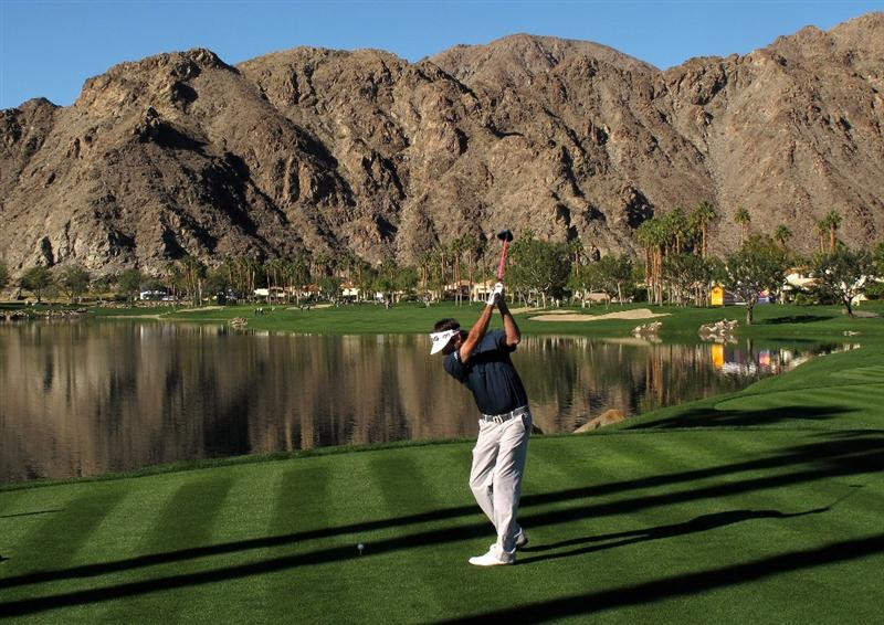LA QUINTA, CA - JANUARY 23:  Bubba Watson hits his tee shot on the 10th hole of the Palmer Private course at PGA West during the third round of the Bob Hope Classic on January 23, 2010 in La Quinta, California.  (Photo by Stephen Dunn/Getty Images)