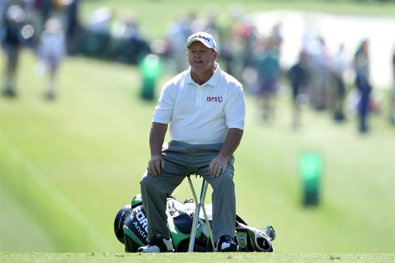AUGUSTA, GA - APRIL 07:  Ian Woosnam of Wales sits in a chair on the first fairway during the first round of the 2011 Masters Tournament at Augusta National Golf Club on April 7, 2011 in Augusta, Georgia.  (Photo by Andrew Redington/Getty Images)
