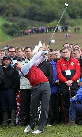NEWPORT, WALES - OCTOBER 03:  Zach Johnson of the USA hits an approach shot during the  Fourball & Foursome Matches during the 2010 Ryder Cup at the Celtic Manor Resort on October 3, 2010 in Newport, Wales.  (Photo by Jamie Squire/Getty Images)