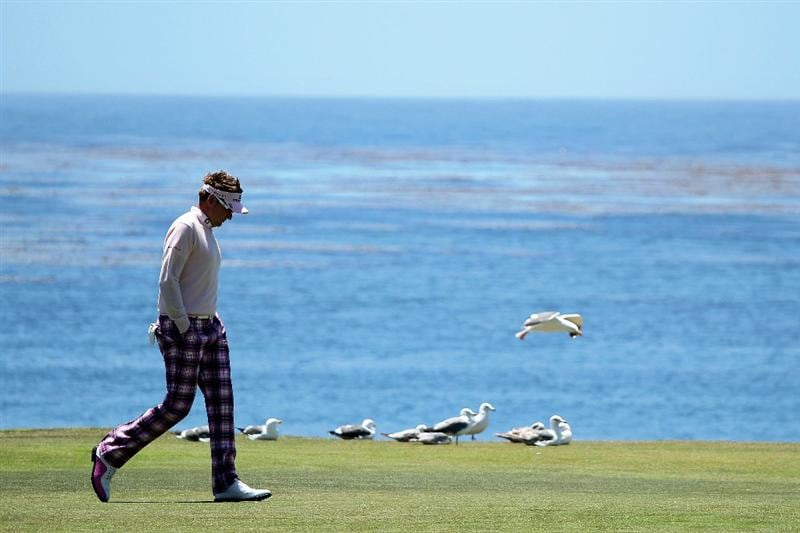 PEBBLE BEACH, CA - JUNE 17:  Ian Poulter of England walks up the 18th fairway during the first round of the 110th U.S. Open at Pebble Beach Golf Links on June 17, 2010 in Pebble Beach, California.  (Photo by Andrew Redington/Getty Images)