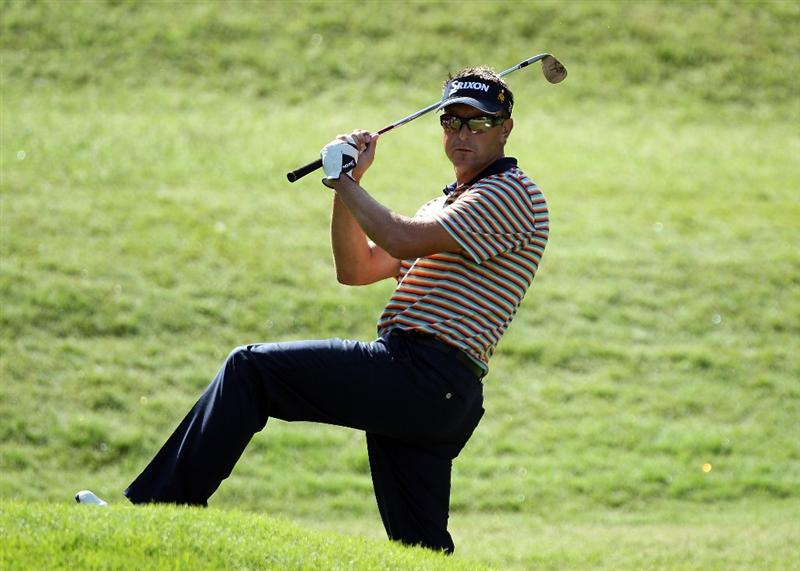 PONTE VEDRA BEACH, FL - MAY 07:  Robert Allenby of Australia reacts to a shot on the eighth hole during the second round of THE PLAYERS Championship held at THE PLAYERS Stadium course at TPC Sawgrass on May 7, 2010 in Ponte Vedra Beach, Florida.  (Photo by Scott Halleran/Getty Images)