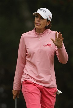 SUNNINGDALE, UNITED KINGDOM - AUGUST 01:  Juli Inkster of the USA ackowledges the crowd on the 13th green during the second round of the 2008 Ricoh Women's British Open held on the Old Course at Sunningdale Golf Club on August 1, 2008 in Sunningdale, England.  (Photo by Warren Little/Getty Images)