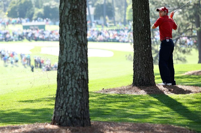 AUGUSTA, GA - APRIL 07:  Sergio Garcia of Spain watches a shot on the first hole during the first round of the 2011 Masters Tournament at Augusta National Golf Club on April 7, 2011 in Augusta, Georgia.  (Photo by Andrew Redington/Getty Images)