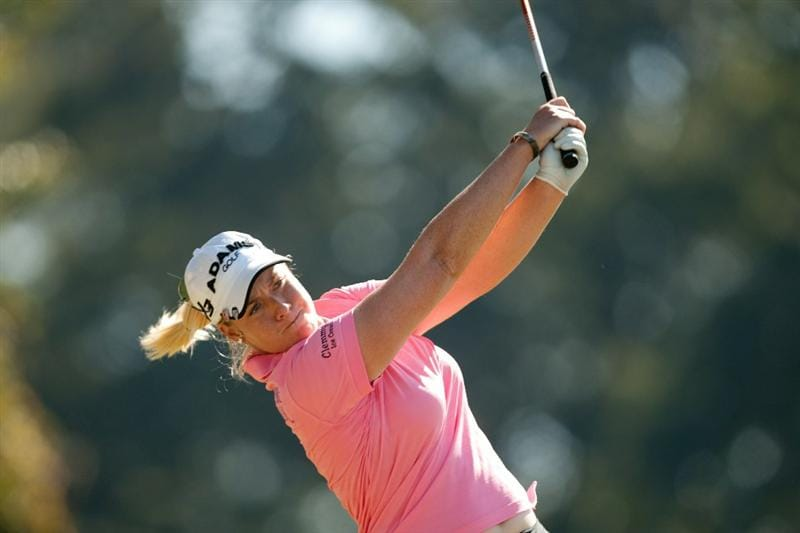 PRATTVILLE, AL - OCTOBER 8: Brittany Lincicome follows through on a tee shot during the second round of the Navistar LPGA Classic at the Senator Course at the Robert Trent Jones Golf Trail on October 8, 2010 in Prattville, Alabama. (Photo by Darren Carroll/Getty Images)