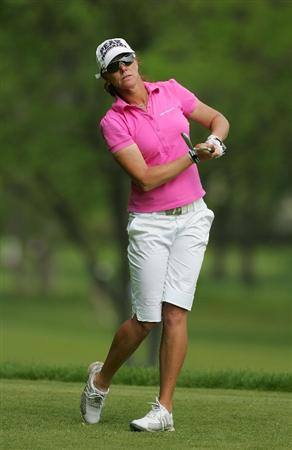 CORNING, NY - MAY 22:  Helen Alfredsson of Sweden hits a tee shot  during the second round of the LPGA Corning Classic at the Corning Country Club held on May 22, 2009 in Corning, New York.  (Photo by Michael Cohen/Getty Images)