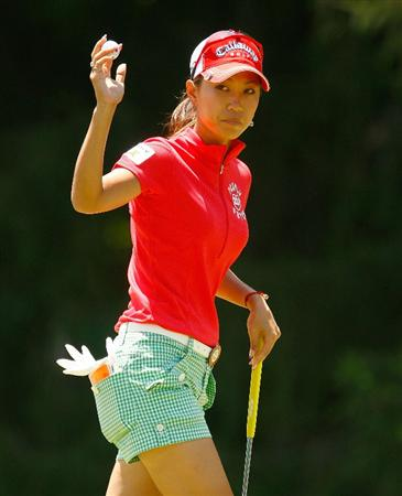 BETHLEHEM, PA - JULY 12:  Momoko Ueda of Japan celebrates a birdie putt on the eighth hole during the final round of the 2009 U.S. Women's Open at the Saucon Valley Country Club on July 12, 2009 in Bethlehem, Pennsylvania.  (Photo by Scott Halleran/Getty Images)