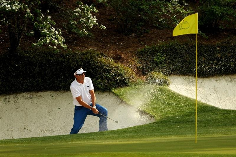 AUGUSTA, GA - APRIL 08:  Robert Allenby of Australia plays a bunker shot on the 12th hole during the second round of the 2011 Masters Tournament at Augusta National Golf Club on April 8, 2011 in Augusta, Georgia.  (Photo by Jamie Squire/Getty Images)