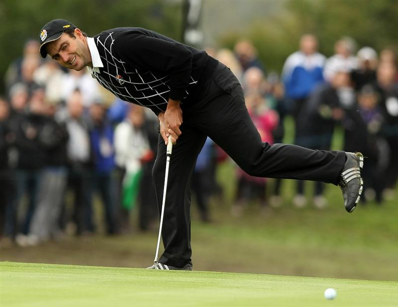 NEWPORT, WALES - OCTOBER 02:  Edoardo Molinari reacts to his putt on the 7th green during the rescheduled Afternoon Foursome Matches during the 2010 Ryder Cup at the Celtic Manor Resort on October 2, 2010 in Newport, Wales. (Photo by Ross Kinnaird/Getty Images)