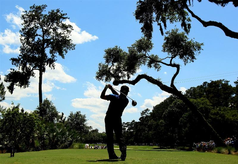PONTE VEDRA BEACH, FL - MAY 15:  K.J. Choi of South Korea hits his tee shot on the sixth hole during the final round of THE PLAYERS Championship held at THE PLAYERS Stadium course at TPC Sawgrass on May 15, 2011 in Ponte Vedra Beach, Florida.  (Photo by Streeter Lecka/Getty Images)