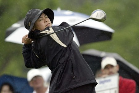 Dorothy Delasin drives in the rain during the first round of the 2005 Wegman's Rochester LPGA at Locust Hill Country Club in  Pittsford, New York on June 16, 2005.Photo by Michael Cohen/WireImage.com