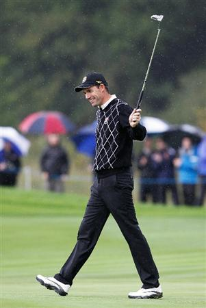 NEWPORT, WALES - OCTOBER 02:   Padraig Harrington of Europe celebrates on the 8th green during the rescheduled Afternoon Foursome Matches during the 2010 Ryder Cup at the Celtic Manor Resort on October 2, 2010 in Newport, Wales.  (Photo by Sam Greenwood/Getty Images)