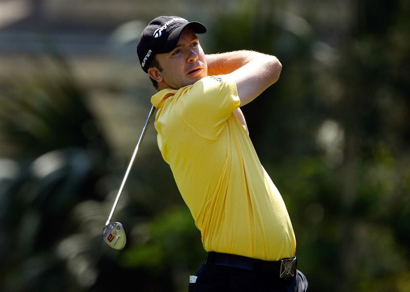 HILTON HEAD ISLAND, SC - APRIL 15:  Martin Laird of Scotland hits his tee shot on the eighth hole during the first round of the Verizon Heritage at the Harbour Town Golf Links on April 15, 2010 in Hilton Head lsland, South Carolina.  (Photo by Scott Halleran/Getty Images)