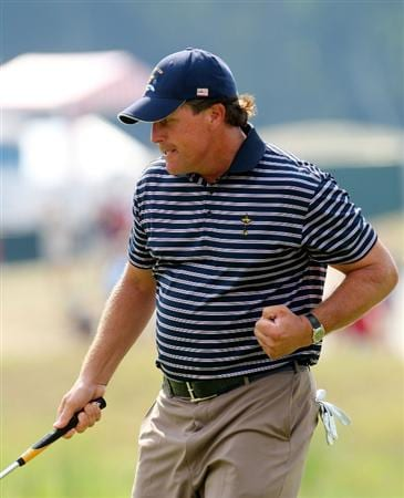 LOUISVILLE, KY - SEPTEMBER 20:  Phil Mickelson of the USA team celebrates an eagle putt on the seventh green during the afternoon four-ball matches on day two of the 2008 Ryder Cup at Valhalla Golf Club on September 20, 2008 in Louisville, Kentucky.  (Photo by Andrew Redington/Getty Images)