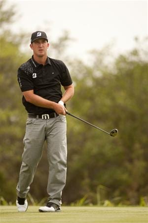 SAN ANTONIO, TX - APRIL 17: Kevin Chappell watches a tee shot during the final round of the Valero Texas Open at the AT&T Oaks Course at TPC San Antonio on April 17, 2011 in San Antonio, Texas. (Photo by Darren Carroll/Getty Images)