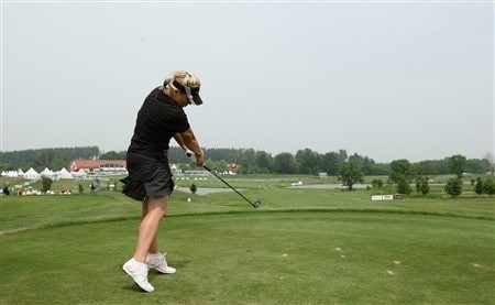MUNICH, GERMANY - MAY 29:  Martina Eberl of Germany plays her tee shot on the 18th hole during the first round of the Hypovereinsbank Ladies German Open Golf at Golfpark Gut Hausern on May 29, 2008 near Munich, Germany.  (Photo by Stuart Franklin/Bongarts/Getty Images)