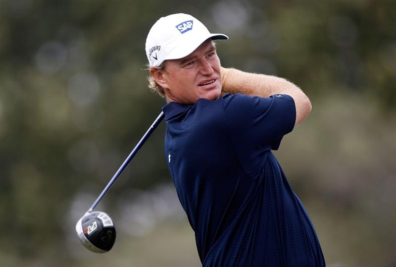 DORAL, FL - MARCH 11:  Ernie Els of South Africa hits his tee shot on the eighth hole during the first round of the 2010 WGC-CA Championship at the TPC Blue Monster at Doral on March 11, 2010 in Doral, Florida.  (Photo by Scott Halleran/Getty Images)