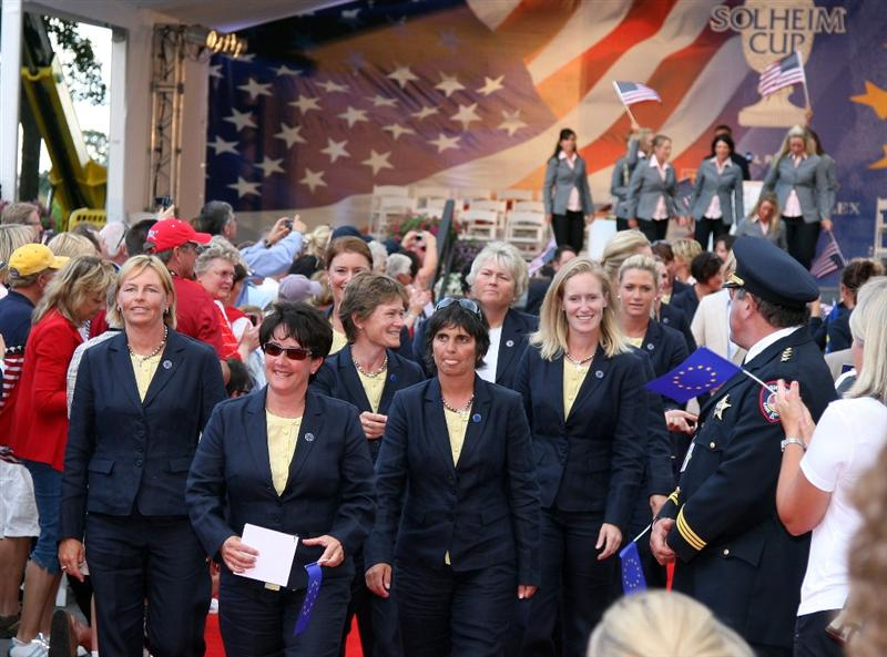 SUGAR GROVE, IL - AUGUST 20:  Alison Nicholas the European Team Captain (left) with her assistant Joanne Morley lead the European Team from the stage during the Opening Ceremony for the 2009 Solheim Cup Matches, at the Rich Harvest Farms Golf Club on August 18, 2009 in Sugar Grove, Ilinois  (Photo by David Cannon/Getty Images)
