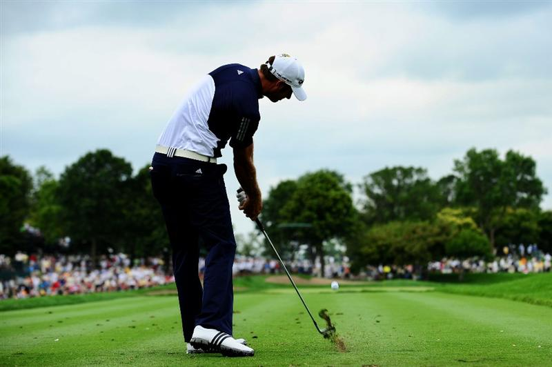 CHASKA, MN - AUGUST 13:  Dustin Johnson hits his tee shot on the eighth hole during the first round of the 91st PGA Championship at Hazeltine National Golf Club on August 13, 2009 in Chaska, Minnesota.  (Photo by Stuart Franklin/Getty Images)