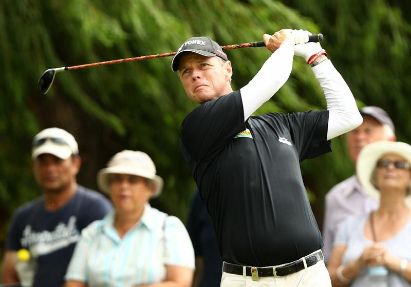 PERTH, AUSTRALIA - NOVEMBER 21:  Gary Wolstenhome of England tees off on the 2nd hole during day three of the 2010 Australian Senior Open at Royal Perth Golf Club on November 21, 2010 in Perth, Australia.  (Photo by Paul Kane/Getty Images)