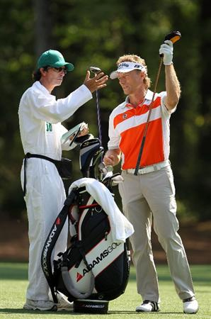 AUGUSTA, GA - APRIL 07:  Bernhard Langer of Germany pulls a club during a practice round prior to the 2010 Masters Tournament at Augusta National Golf Club on April 7, 2010 in Augusta, Georgia.  (Photo by Jamie Squire/Getty Images)