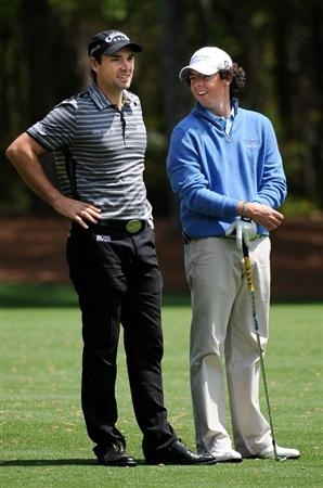 AUGUSTA, GA - APRIL 06:  Rory McIlroy of Northern Ireland chats with Oliver Wilson of England during a practice round prior to the 2009 Masters Tournament at Augusta National Golf Club on April 6, 2009 in Augusta, Georgia.  (Photo by Harry How/Getty Images)
