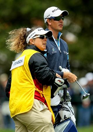 PEBBLE BEACH, CA - JUNE 19:  Henrik Stenson of Sweden and his caddie Fannie Sunesson stand on the first green  during the third round of the 110th U.S. Open at Pebble Beach Golf Links on June 19, 2010 in Pebble Beach, California.  (Photo by Jeff Gross/Getty Images)