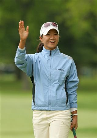 CLIFTON, NJ - MAY 17:  Ji Young Oh of South Korea reacts after holing out on the 18th green to win the Sybase Classic presented by ShopRite at Upper Montclair Country Club on May 17, 2009 in Clifton, New Jersey. (Photo by Hunter Martin/Getty Images)