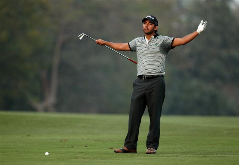 NEW DELHI, INDIA - FEBRUARY 19:  Pablo Larrazabal of Spain gestures during the third round of the Avantha Masters held at The DLF Golf and Country Club on February 19, 2011 in New Delhi, India.  (Photo by Ian Walton/Getty Images)