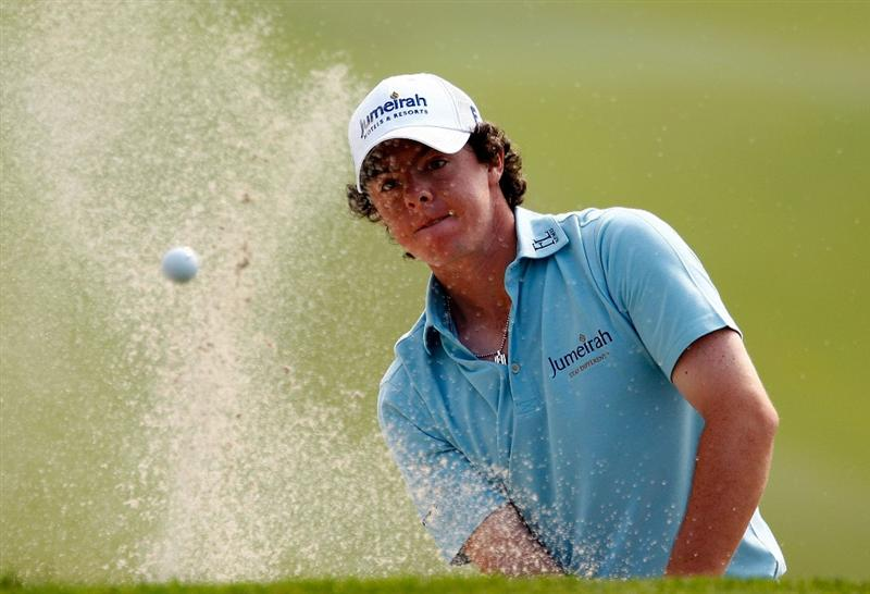 SHANGHAI, CHINA - NOVEMBER 08:  Rory McIlroy of Northern Ireland plays a bunker shot on the third hole during the final round of the WGC-HSBC Champions at Sheshan International Golf Club on November 8, 2009 in Shanghai, China.  (Photo by Scott Halleran/Getty Images)