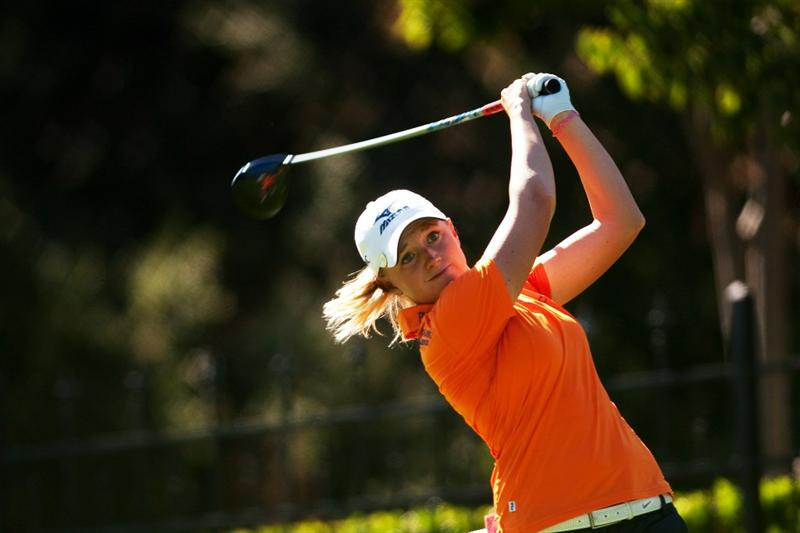DANVILLE, CA - OCTOBER 15: Stacy Lewis follows through on a tee shot during the second round of the CVS/Pharmacy LPGA Challenge at Blackhawk Country Club on October 15, 2010 in Danville, California. (Photo by Darren Carroll/Getty Images)