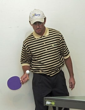 Mark Hensby of the International team plays ping pong in the team cabin at The Presidents Cup at Robert Trent Jones Golf Club in Prince William County, Virginia on September 21, 2005.Photo by Sam Greenwood/WireImage.com