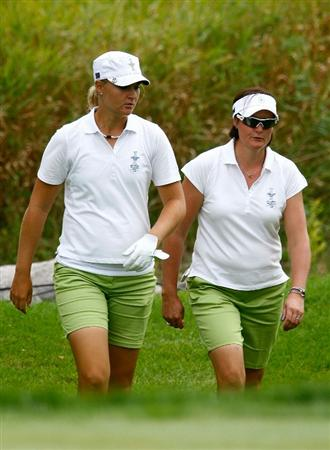 SUGAR GROVE, IL - AUGUST 19:  (L-R) Anna Nordqvist and Maria Hjorth of the European Team walk to a green during a practice round prior to the start of the 2009 Solheim Cup at Rich Harvest Farms on August 19, 2009 in Sugar Grove, Illinois.  (Photo by Scott Halleran/Getty Images)