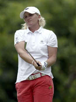 Becky Morgan watches an iron shot during the third round of the 2005 Wegman's Rochester LPGA at Locust Hill Country Club in  Pittsford, New York on June 18, 2005.Photo by Michael Cohen/WireImage.com