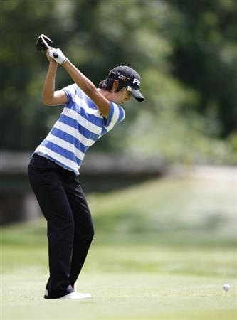 SYLVANIA, OH - JULY 05:  Song-Hee Kim of South Korea hits her tee shot on the third hole during the final round of the Jamie Farr Owens Corning Classic at Highland Meadows Golf Club on July 5, 2009 in Sylvania, Ohio.  (Photo by Gregory Shamus/Getty Images)