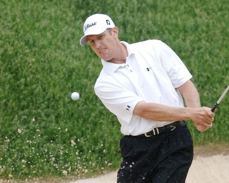 Craig Perks  blasts from a sand trap near the 17th green  during the first round, June 2, 2005, of The Memorial at Muirfield Village Golf Club in Dublin, Ohio.Photo by Al Messerschmidt/WireImage.com