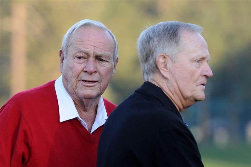 AUGUSTA, GA - APRIL 07:  Arnold Palmer (L) and Jack Nicklaus wait on the first tee prior to starting the first round of the 2011 Masters Tournament at Augusta National Golf Club on April 7, 2011 in Augusta, Georgia.  (Photo by Harry How/Getty Images)