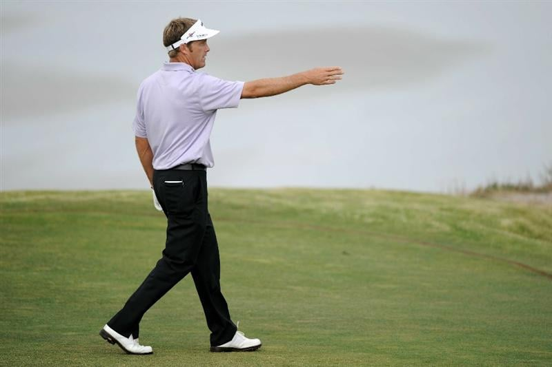 PEBBLE BEACH, CA - JUNE 17:  Stuart Appleby of Australia walks across the tenth fairway during the first round of the 110th U.S. Open at Pebble Beach Golf Links on June 17, 2010 in Pebble Beach, California.  (Photo by Harry How/Getty Images)