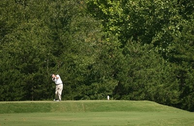 R.W. Eaks hits his tee shot on the 9th hole during the final round of the Champions Tour - 2007 Greater Hickory Classic at Rock Barn Golf and Spa on September 16, 2007 in Conover, North Carolina . Champions Tour - 2007 Greater Hickory Classic at Rock Barn - Final RoundPhoto by Mike Ehrmann/WireImage.com
