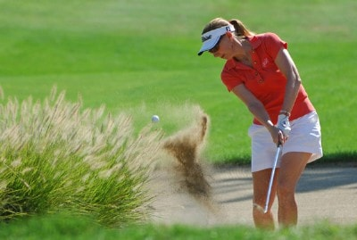 Catherine Cartwright  blasts out of the grennside bunker on the 4th green during the 2006 State Farm Classic at the Rail Golf Club in Springfield, Illinois on Sunday Septembr 3, 2006Photo by Marc Feldman/WireImage.com