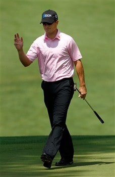 AUGUSTA, GA - APRIL 10:  Zach Johnson waves as he walks across a green during the first round of the 2008 Masters Tournament at Augusta National Golf Club on April 10, 2008 in Augusta, Georgia.  (Photo by Jamie Squire/Getty Images)