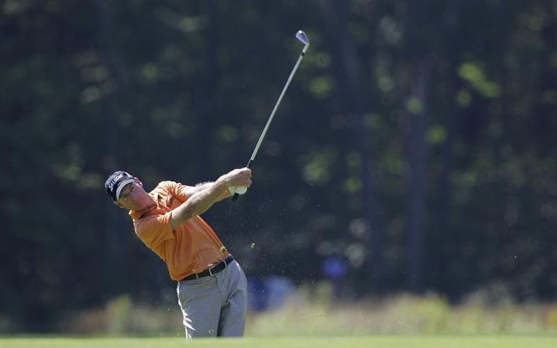 NORTON, MA - SEPTEMBER 04:  Jim Furyk of the United States plays a shot from the fairway during the first round of the Deutsche Bank Championship at TPC Boston held on September 4, 2009 in Norton, Massachusetts.  (Photo by Michael Cohen/Getty Images)