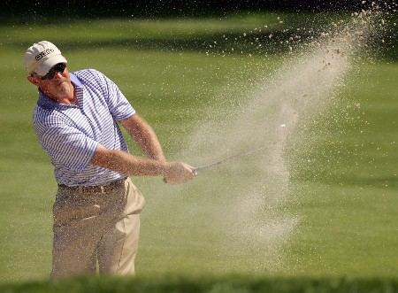PARAMUS, NJ - AUGUST 21:  Frank Lickliter II plays a shot from the bunker on the 12th hole during the first round of The Barclays at Ridgewood Country Club on August 21, 2008 in Paramus New Jersey.  (Photo by Sam Greenwood/Getty Images)