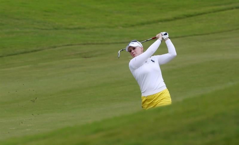 PRATTVILLE, AL - OCTOBER 4:  Morgan Pressel hits to the ninth green during final round play in the Navistar LPGA Classic at the Robert Trent Jones Golf Trail at Capitol Hill on October 4, 2009 in  Prattville, Alabama.  (Photo by Dave Martin/Getty Images)