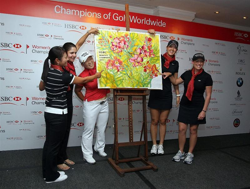 SINGAPORE - FEBRUARY 23:  Ai Miyazato of Japan, Lorena Ochoa of Mexico, Jiyai Shin of South Korea, Michelle Wie and Cristi Kerr of the USA pose during a photocall at the Raffles Hotel prior to the HSBC Women's Champions at Tanah Merah Country Club on February 23, 2010 in Singapore, Singapore.  (Photo by Andy Lyons/Getty Images)