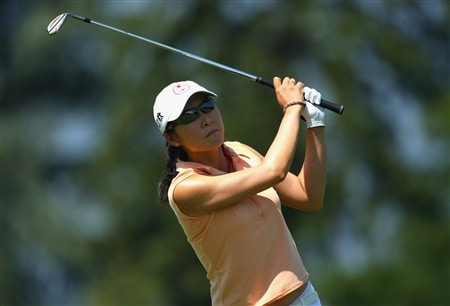 EVIAN, FRANCE - JULY 26:  Candie Kung of Taiwan hits her second shot on the fifth hole during the third round of the Evian Masters at the Evian Masters Golf Club on July 26, 2008 in Evian, France.  (Photo by Andrew Redington/Getty Images)