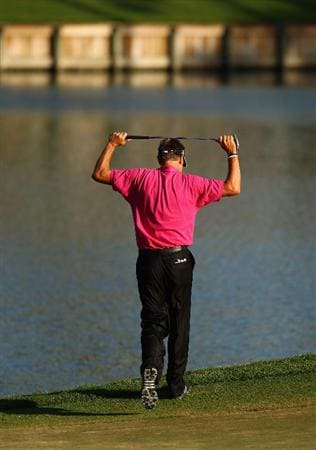 PONTE VEDRA BEACH, FL - MAY 09:  Robert Allenby of Australia reacts as his missed birdie putt on the 17th green during the final round of THE PLAYERS Championship held at THE PLAYERS Stadium course at TPC Sawgrass on May 9, 2010 in Ponte Vedra Beach, Florida.  (Photo by Richard Heathcote/Getty Images)