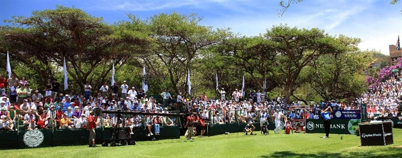 SUN CITY, SOUTH AFRICA - DECEMBER 06:  Retief Goosen of South Africa plays his tee shot at the 1st hole during the final round of the Nedbank Golf Challenge at the Gary Player Country Club at Sun City, on December 6, 2009 in Sun City, South Africa.  (Photo by David Cannon/Getty Images)