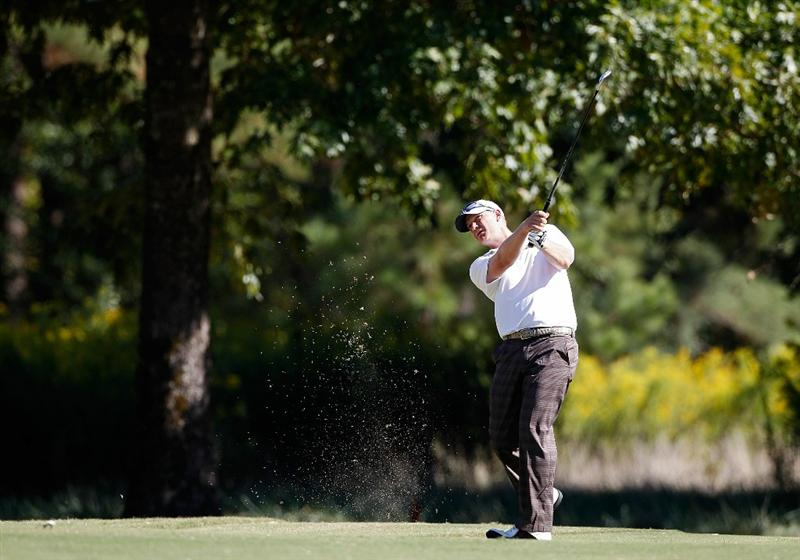 MADISON, MS - OCTOBER 02: Tom Gillis hits his second shot on the 16th hole during the third round of the Viking Classic held at Annandale Golf Club on October 2, 2010 in Madison, Mississippi.  (Photo by Michael Cohen/Getty Images)