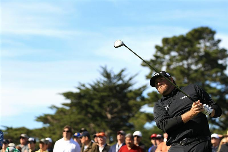 PEBBLE BEACH, CA - FEBRUARY 13:  Steve Marino tees off on the 4th hole at the AT&T Pebble Beach National Pro-Am- Final Round at the Pebble Beach Golf Links on February 13, 2011 in Pebble Beach, California.  (Photo by Jed Jacobsohn/Getty Images)